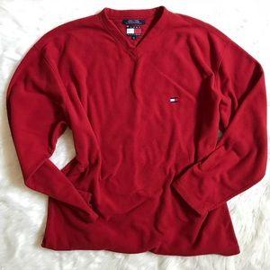 Mens Tommy Hilfiger Red Logo Fleece Sweatshirt